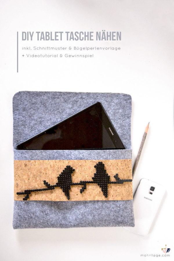 Tablet Tasche aus Filz nähen mit Bügelperlen Patch | + Videotutorial
