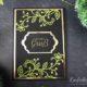 Grußkarte in Schwarz, Gold und Olivgrün
