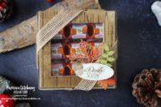 Herbstliche Verpackung mit der Pizzaschachtel & Küsschen