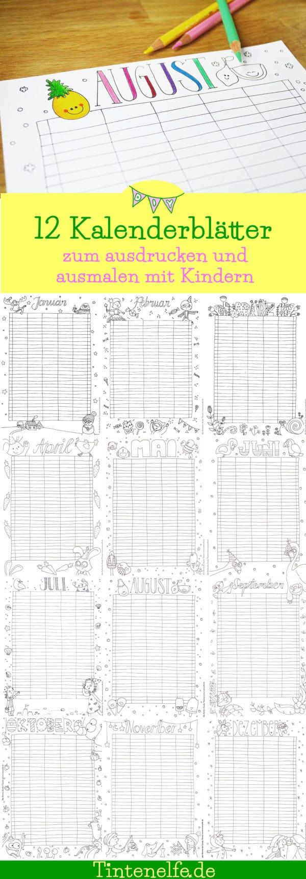 12 Kalenderblätter zum ausmalen