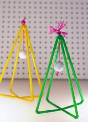 Deko-Weihnachtsbäume aus Trinkhalmen basteln