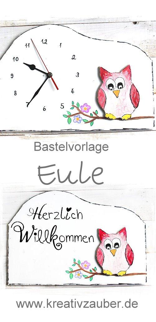 Eule Basteln Türschild Oder Wanduhr Handmade Kultur