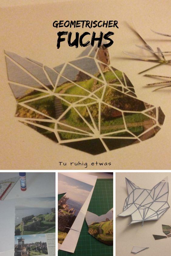 Geometrischer Fuchs / Fuchskopf Collage als Wandbild basteln
