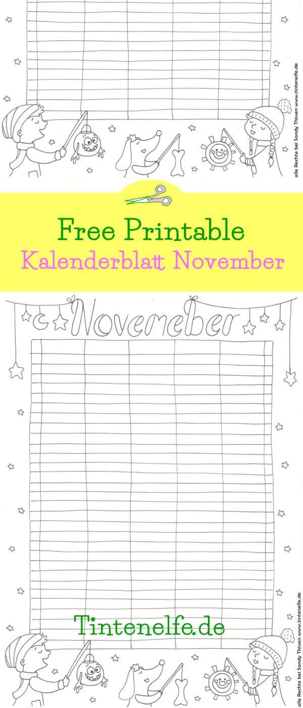 Kalenderblatt November zum Ausdrucken und Ausmalen