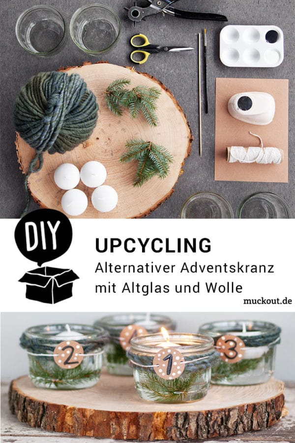 DIY-Idee: Alternativer Upcycling-Adventskranz mit Altglas