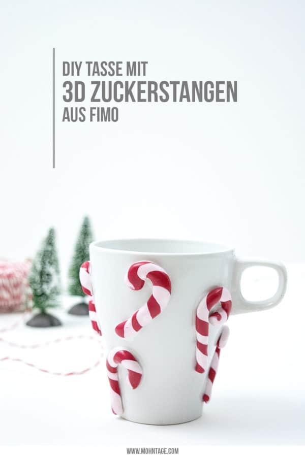 Upcycling: Tasse mit 3D Zuckerstangen aus Fimo verzieren + Videotutorial