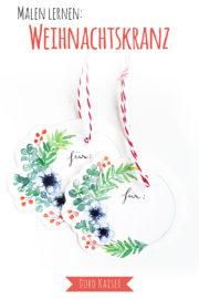 Geschenkanhänger mit Weihnachtskranz