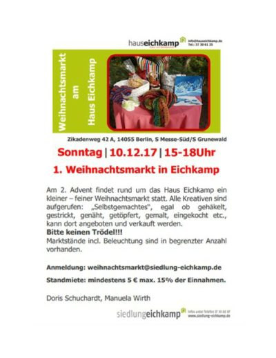 berlin 2 advent weihnachtsmarkt im eichkamp verkauf handarbeiten verk ufer k nnen sich. Black Bedroom Furniture Sets. Home Design Ideas