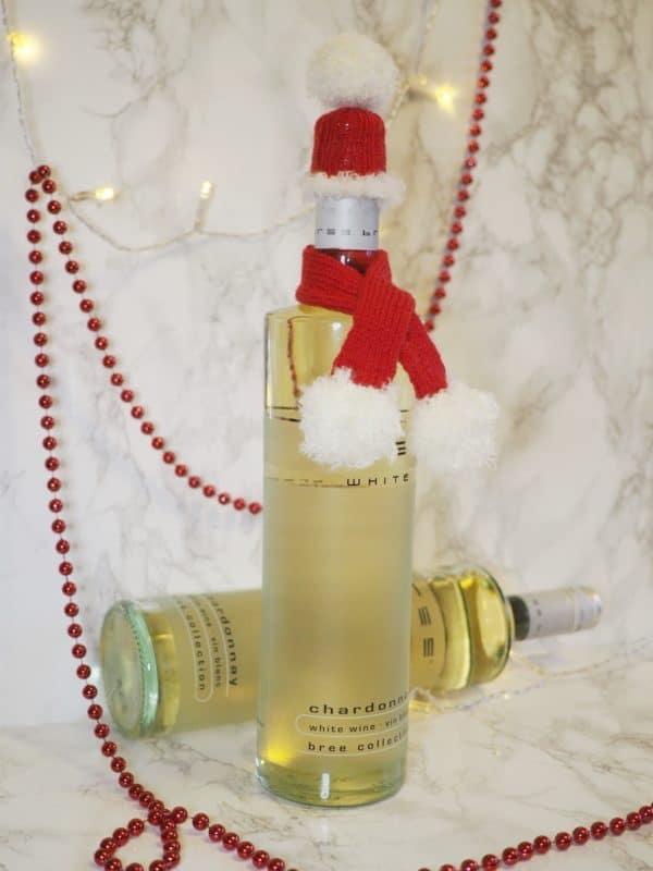 Last-Minute-Geschenkidee - Gestrickte Weinverpackung