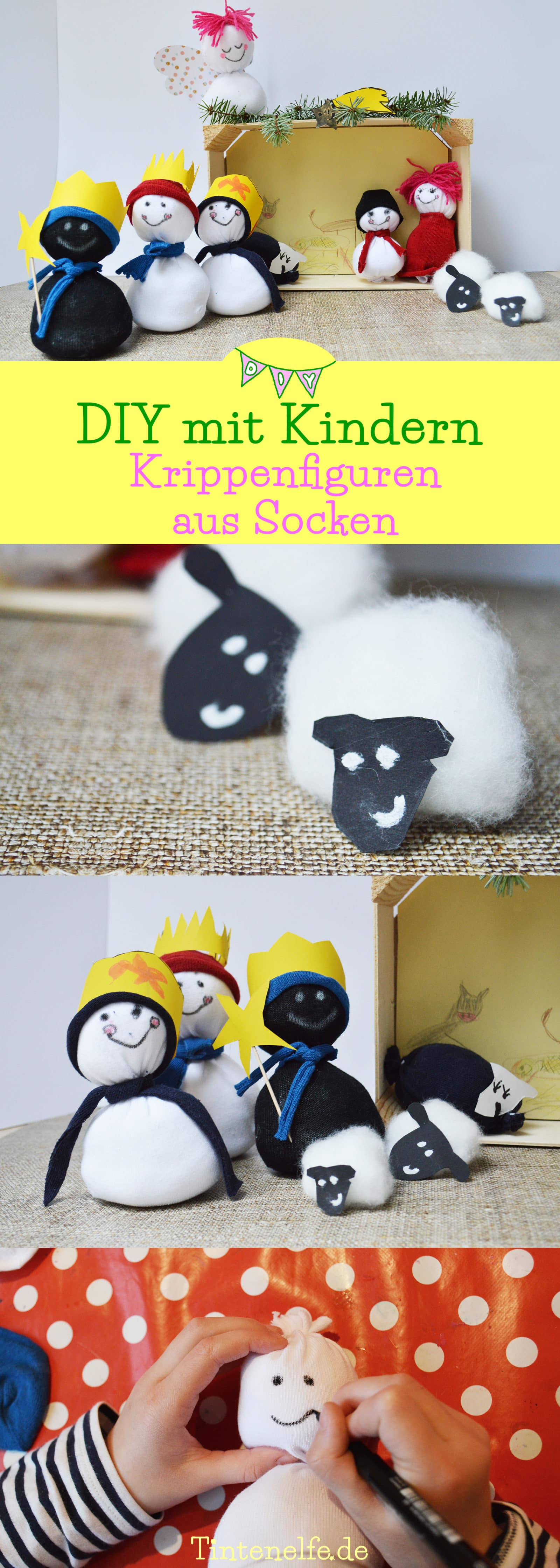 diy mit kindern krippenfiguren aus socken handmade kultur. Black Bedroom Furniture Sets. Home Design Ideas