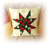Patchwork Kissenbezug mit Stern für die Weihnachtszeit