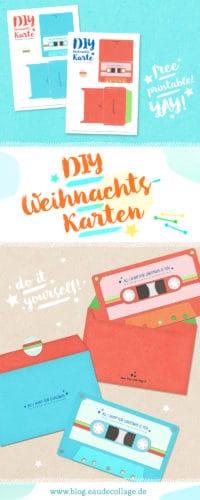 DIY WEIHNACHTSKARTE RETRO-KASSETTE *FREE PRINTABLE*