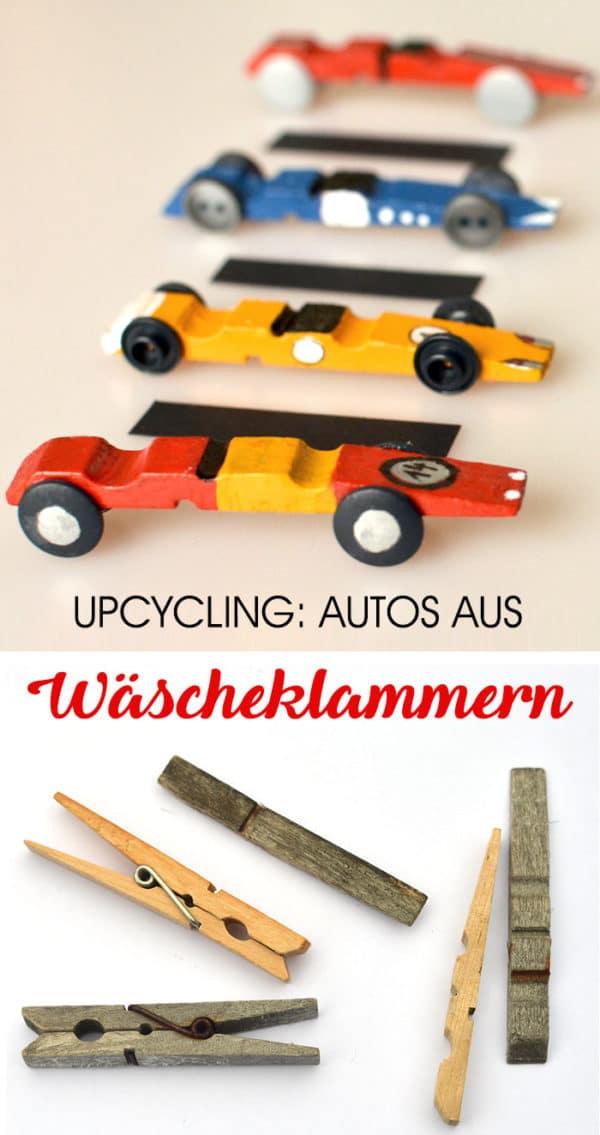 Upcyling-Bastelidee: Autos aus Wäscheklammern