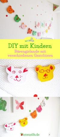 DIY mit Kindern - Bärengirlande mit verschiedenen Gesichtern