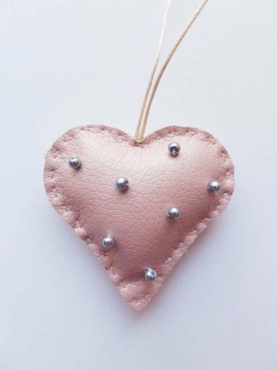Herz Schlüsselanhänger groß rosa Kunstleder