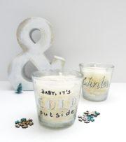 Windlichter mit Handlettering aus Kerzenresten