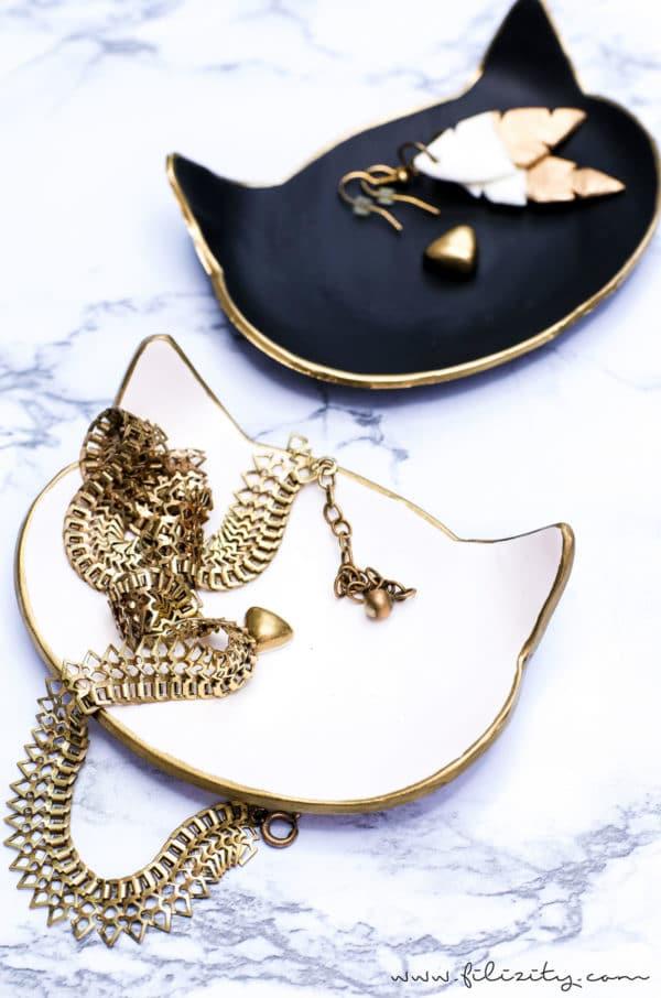 Katzen-Schmuckschalen aus Fimo