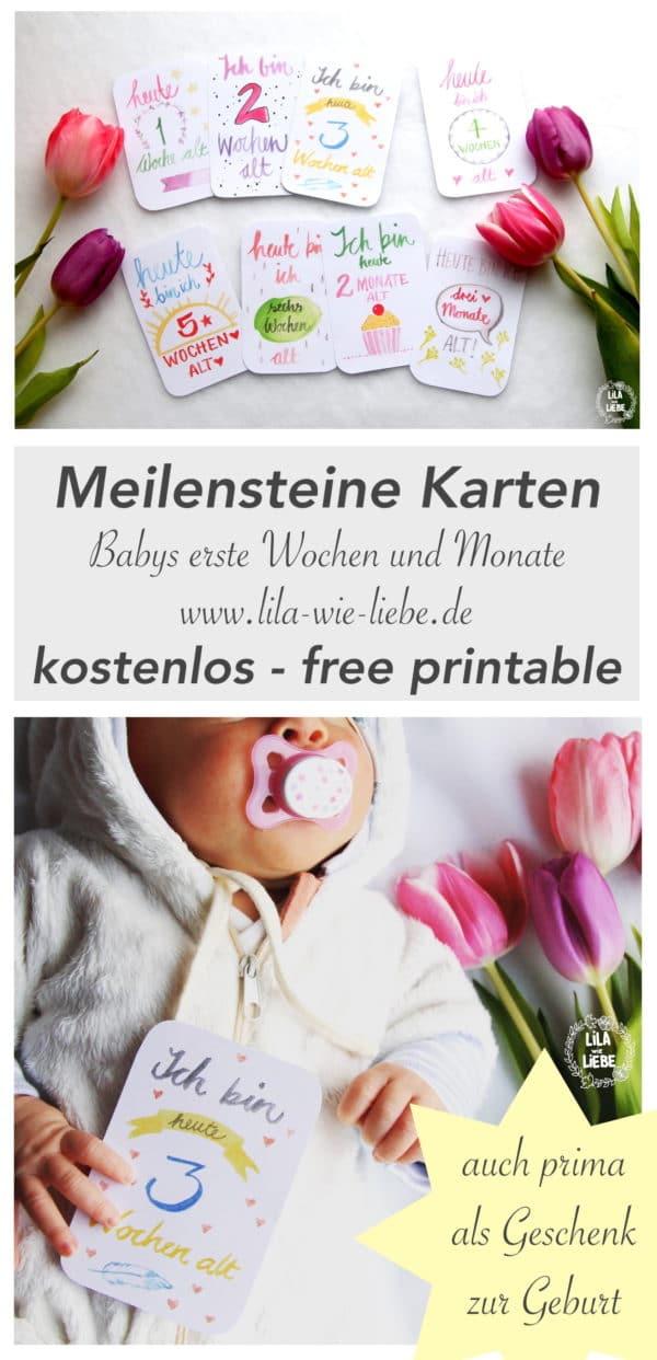 Baby Meilensteine Karten - free printable