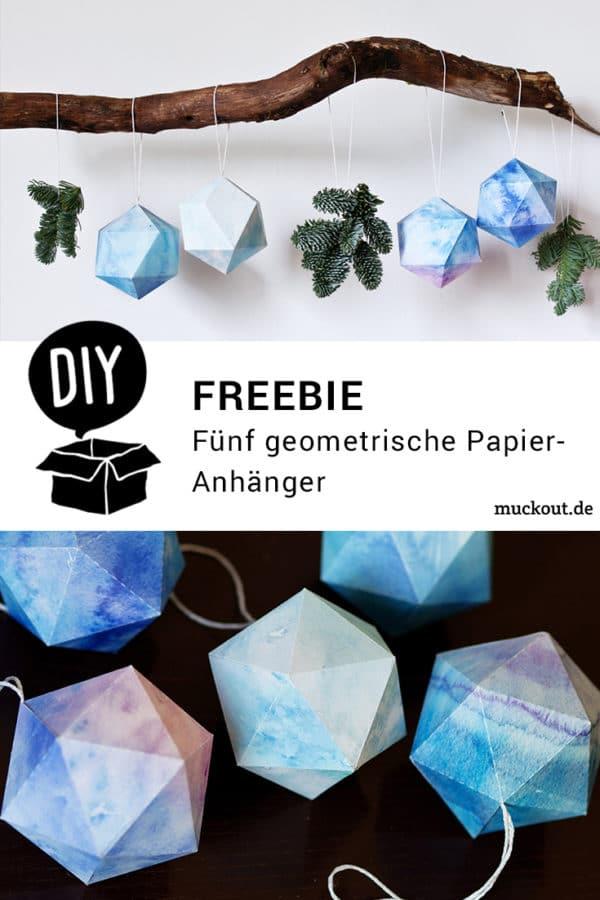 DIY-Idee: Geometrischer Baum- und Fensterschmuck mit Druckvorlage