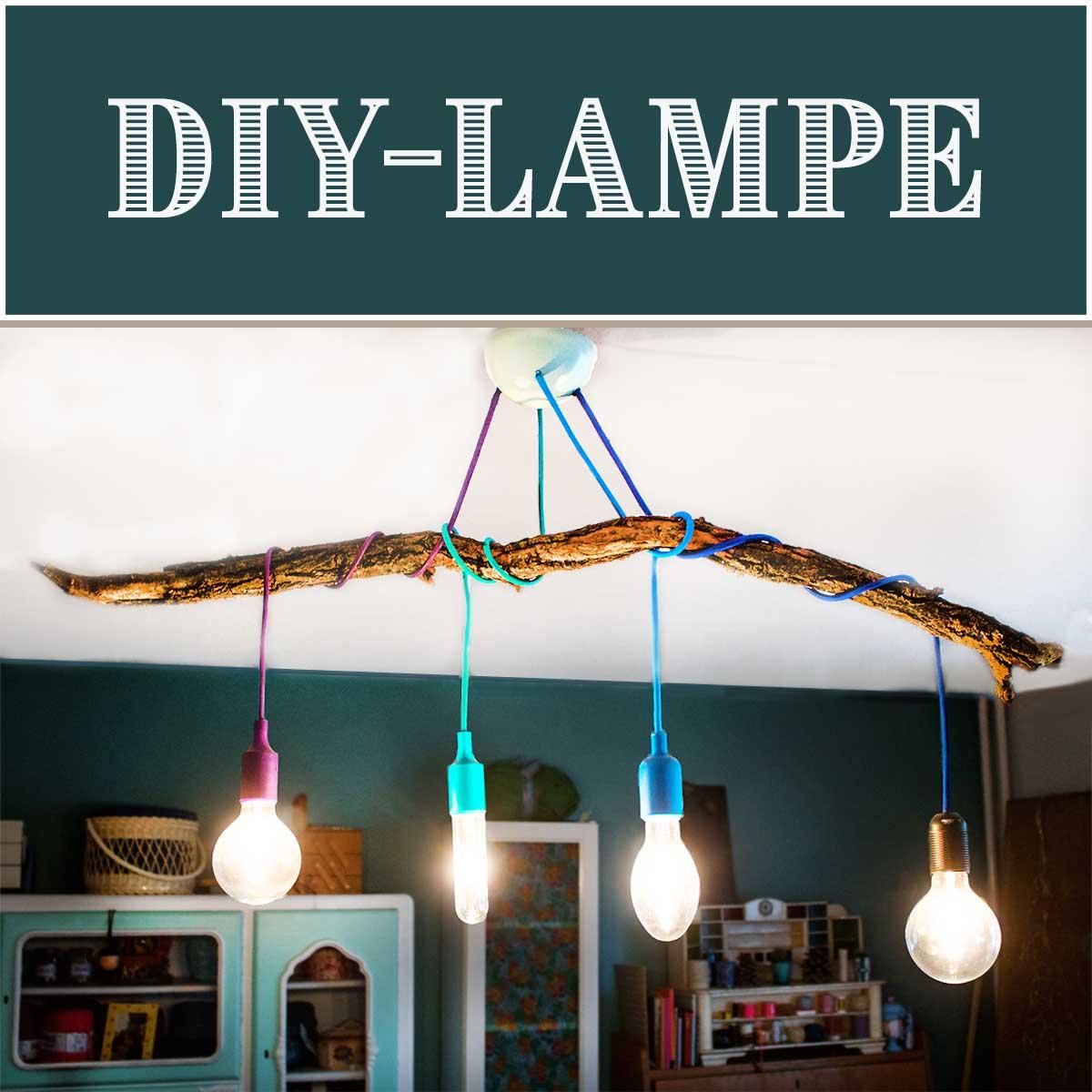 diy lampe mit ast handmade kultur. Black Bedroom Furniture Sets. Home Design Ideas
