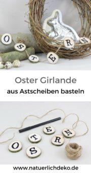 Natürliche Ostergirlande aus Astscheiben