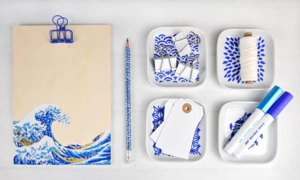 Büroaccessoires mit japanischen Mustern