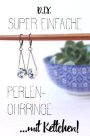 Supereinfache Perlenohrringe mit Kettchen