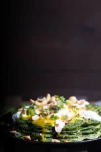 Leckere Waffeln mit Spinat