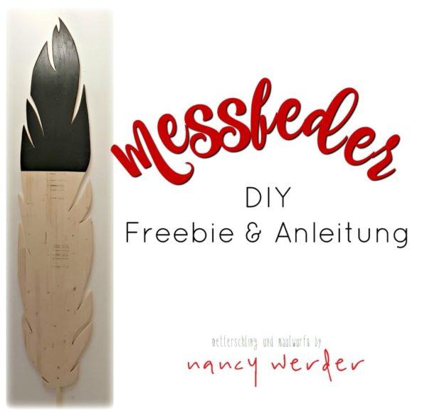 Feder Messlatte aus Holz selbermachen - Freebie