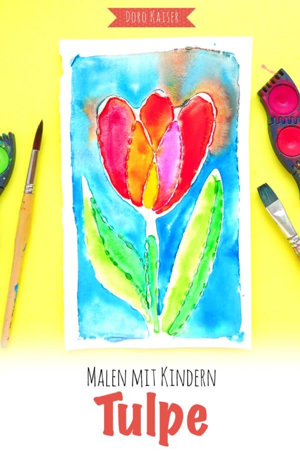 Malen mit Kindern: Tulpe aus Leim und Wasserfarben