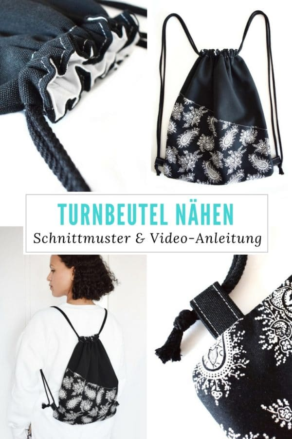 Turnbeutel nähen mit Schnittmuster & Video-Anleitung - HANDMADE Kultur