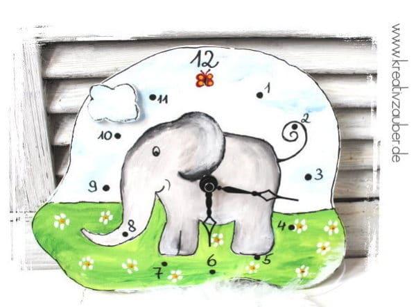 Elefantenuhr basteln