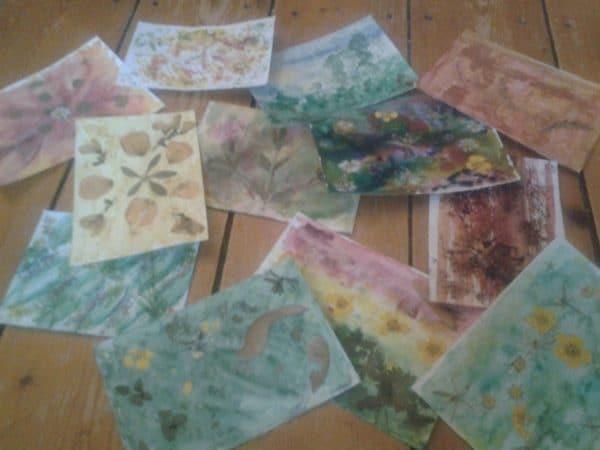 Blätterdruckpostkarten und Blütenpostkarten