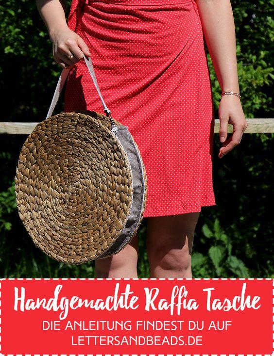 Trendy Raffia-Tasche aus Untersetzern