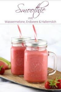 Cremiger Wassermelonen-Erdbeer-Smoothie mit Hafermilch