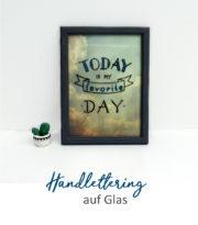 Handlettering auf Glas mit Vorlage