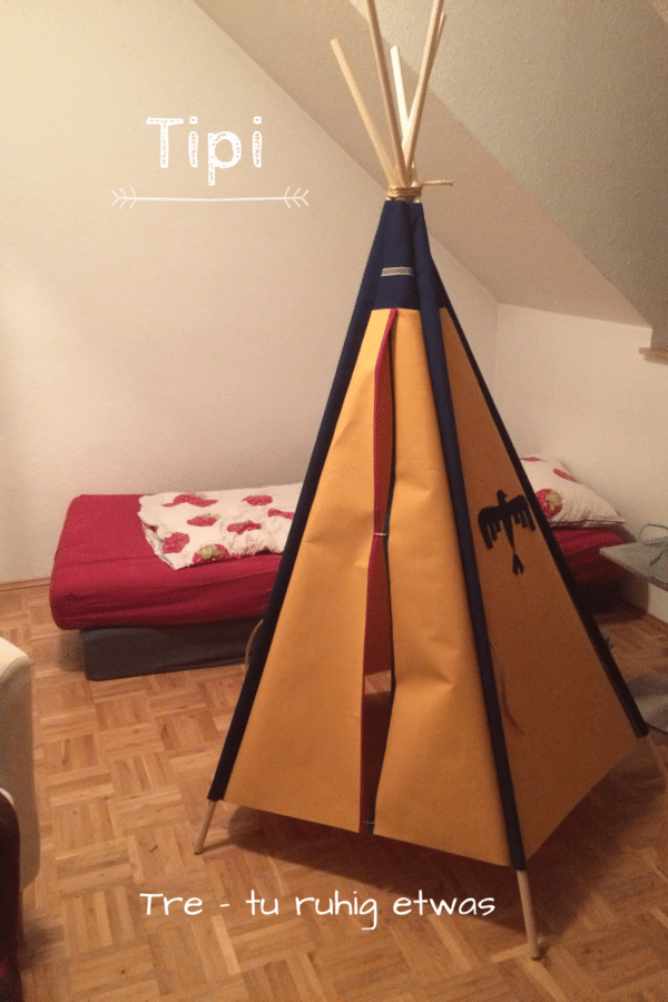 kinder tipi zelt f r drau en selber machen handmade kultur. Black Bedroom Furniture Sets. Home Design Ideas