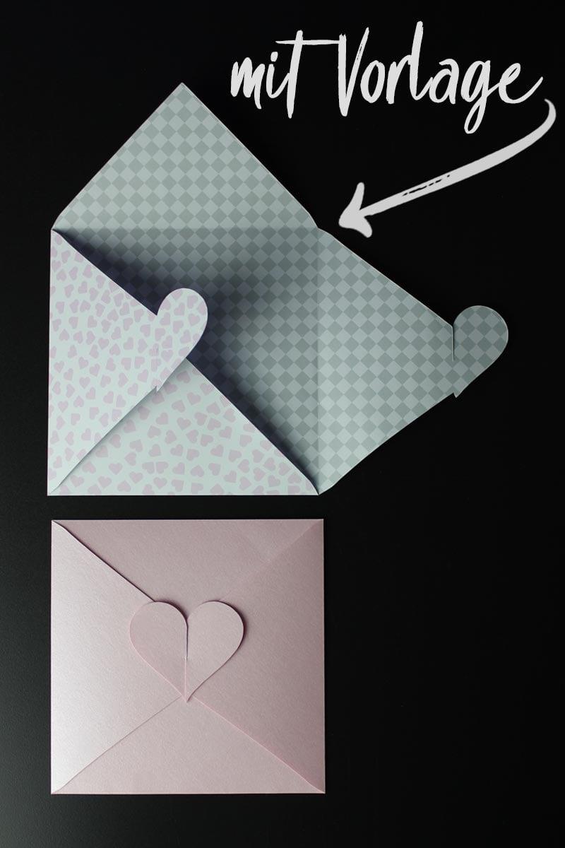 Kuvert mit Herz basteln ❤ [mit Vorlage] - HANDMADE Kultur