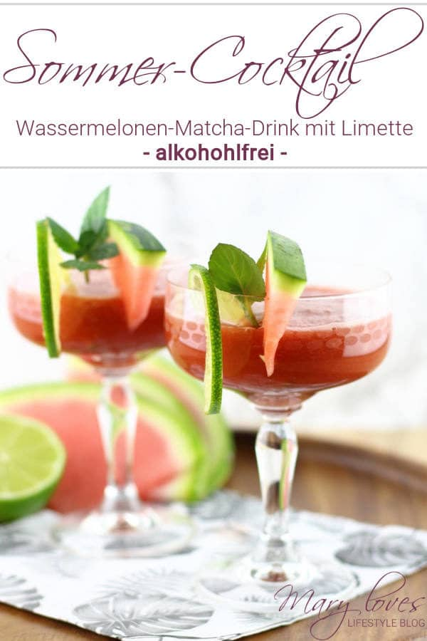alkoholfreier sommer cocktail wassermelonen matcha drink mit limette handmade kultur. Black Bedroom Furniture Sets. Home Design Ideas