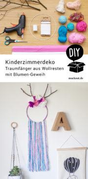 DIY-Idee: Traumfänger fürs Kinderzimmer mit Geweih und Papierblumen