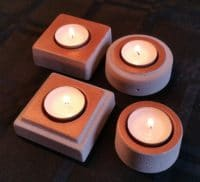 4er-Set Teelichthalter aus Beton, natur/kupfer