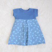 Kleidchen in blau mit Tauben-Motiv - Größe 80