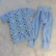 Schlafanzug, hellblau mit Punkten - Größe 110