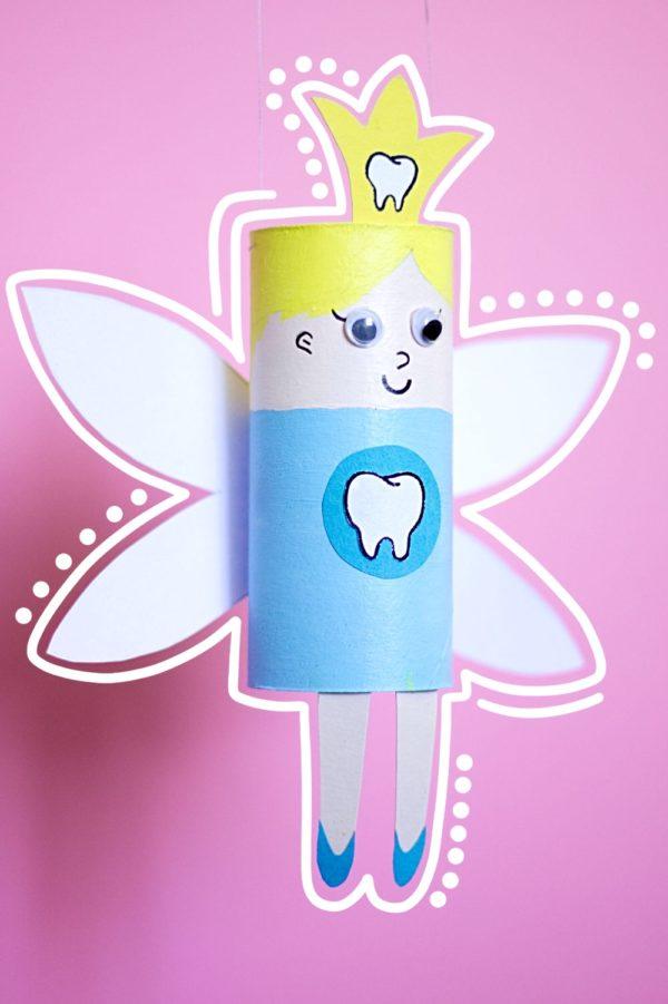 Zahnfee aus Klopapierrollen basteln