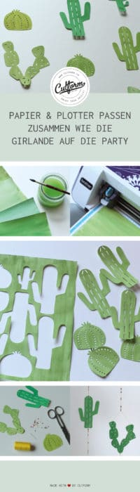 Plotter-Projekt: Kaktus Girlande aus Papier plotten