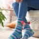 Socken mit PomPons stricken