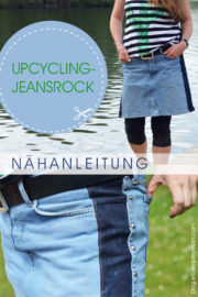 Nähanleitung Upcycling-Jeansrock mit Rallyestreifen