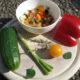 Sommerlicher Linsensalat rot-gelb-grün (Rasta Salad)