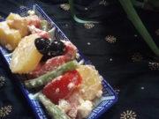 griechischer Kartoffel- Bohnensalat mit Feta- Dressing