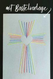 Fadengrafik Kreuz mit Herz [Bastelvorlage & Plotterfreebie]